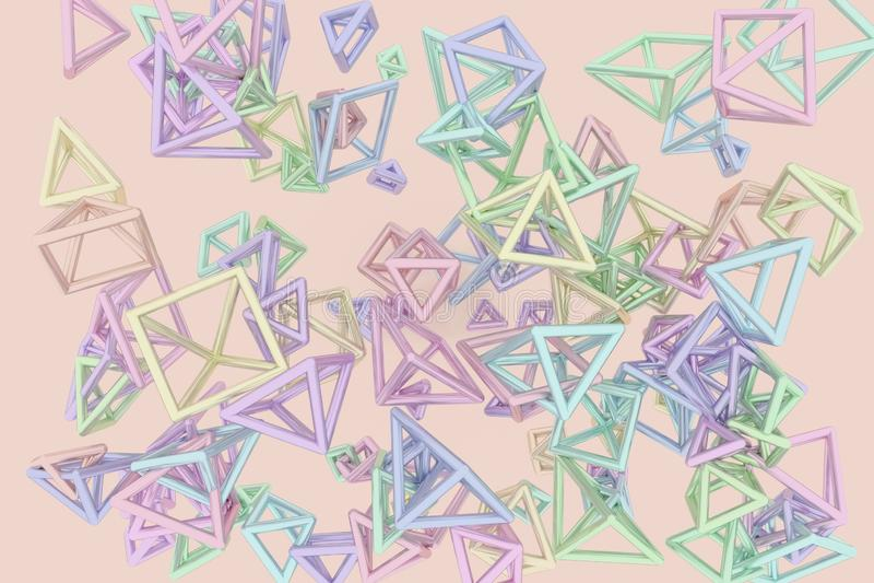 B?ndel des Dreiecks oder des Quadrats, Fliegen, ineinandergegriffen, f?r Entwurfsbeschaffenheit u. Hintergrund Wiedergabe 3d lizenzfreie abbildung