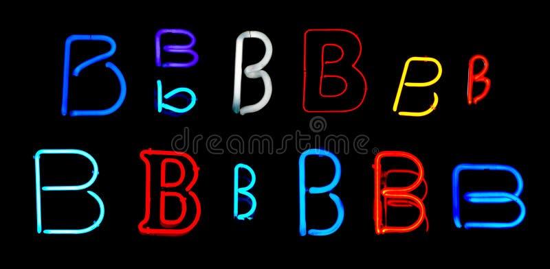 B Neon Letters stock illustration