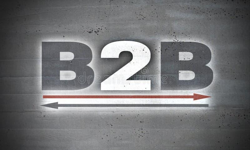 B2B no fundo do muro de cimento ilustração royalty free