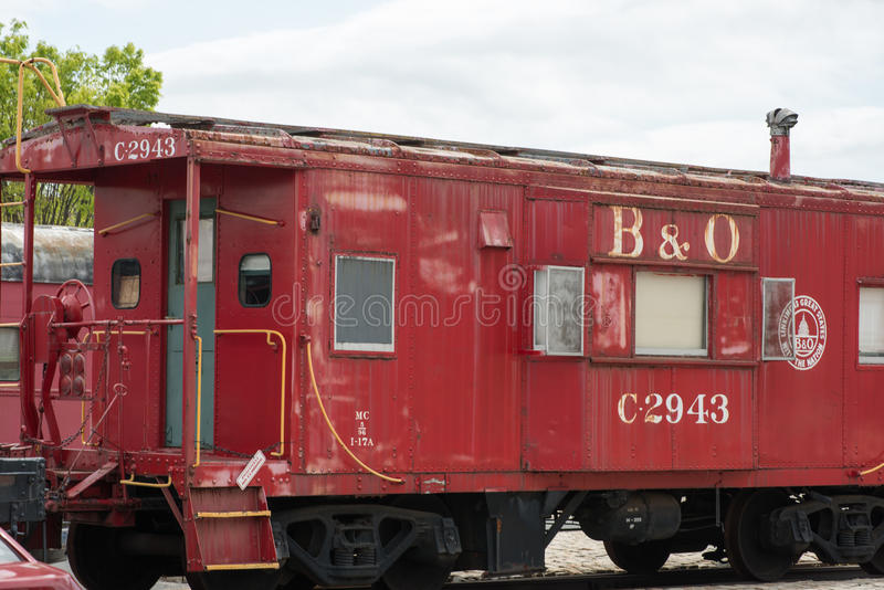 B O Number C-2943 Caboose Baltimore Ohio Railroad. The B O No.C-2943 was built in Washington, Indiana in 1961 as a class I-17A. Originally painted red with white stock image