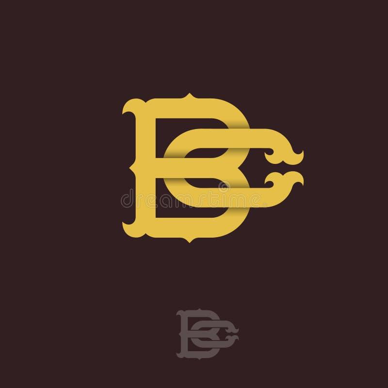 B- och c-monogram B och C korsade bokstäver, flätade samman bokstavsinitialer royaltyfri illustrationer