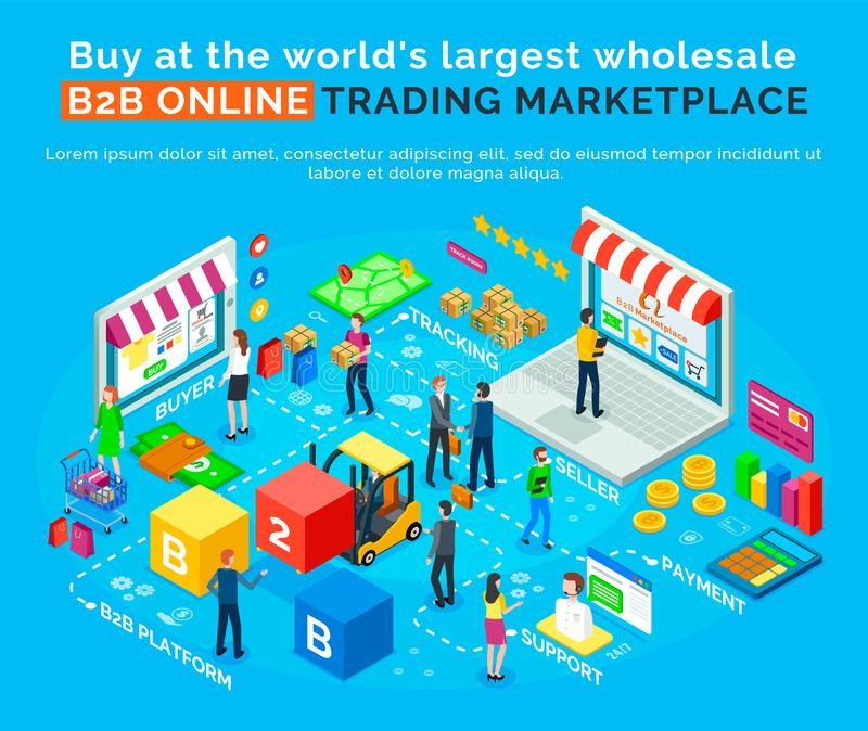 B2 Online Trading Marketplace. Buy, World Platform. B2B online trading marketplace, buy in worlds largest wholesale platform. Vector buyers, delivery and royalty free illustration