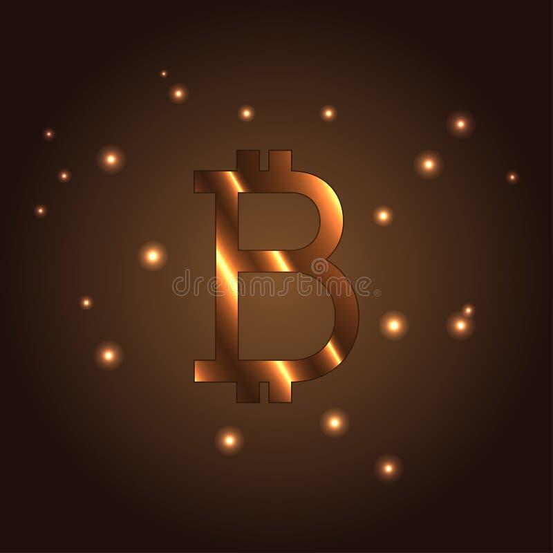 B Pisze list loga, ikona wektoru element Bitcoin ilustracja wektor