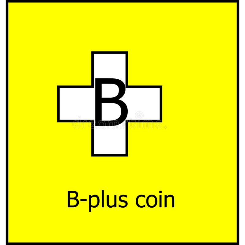 B-plus coin cryptocurrency logo royalty free stock image