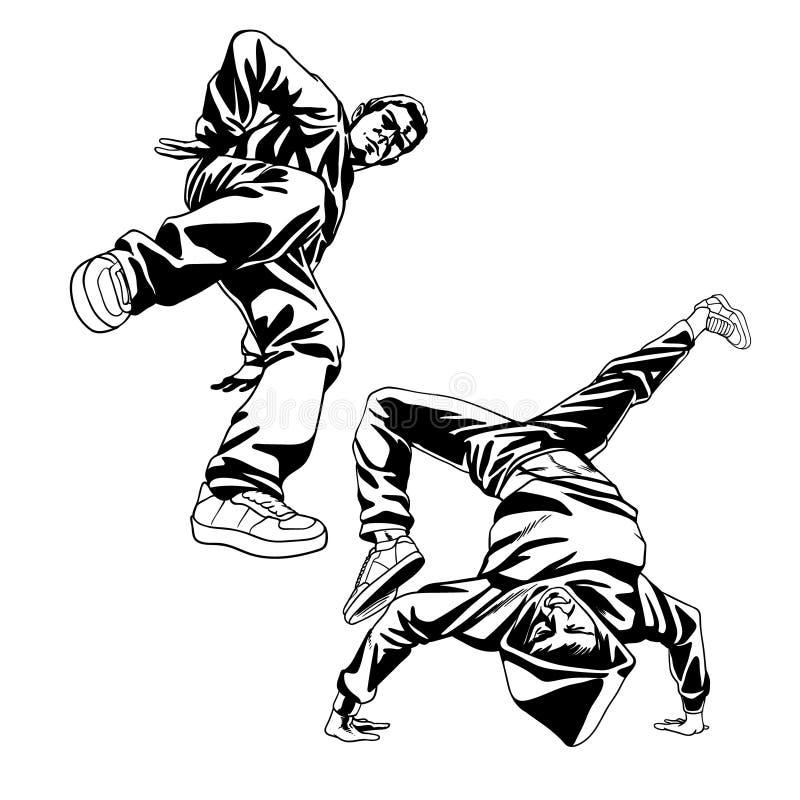 B-pojkar dansaretecken ställde in i dynamiskt poserar stock illustrationer