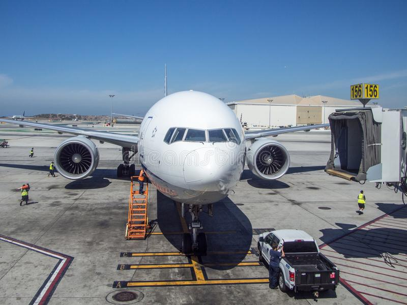 B777-300 Preparing for Boarding at LAX airport. Los Angeles International Airport IATA: LAX, ICAO: KLAX, FAA LID: LAX is the primary international airport royalty free stock photography