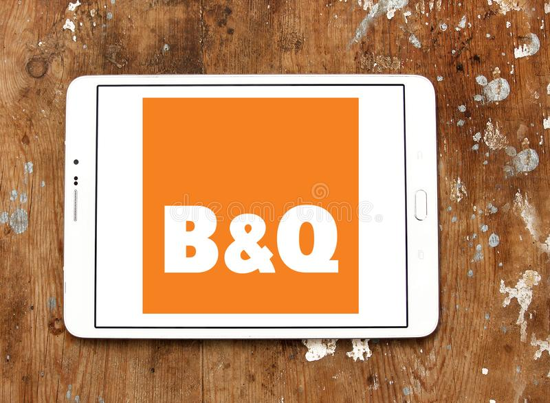 B&Q retailer logo. Logo of logo of B&Q retailer on samsung tablet. B&Q plc is a British multinational DIY and home improvement retailing company royalty free stock photos