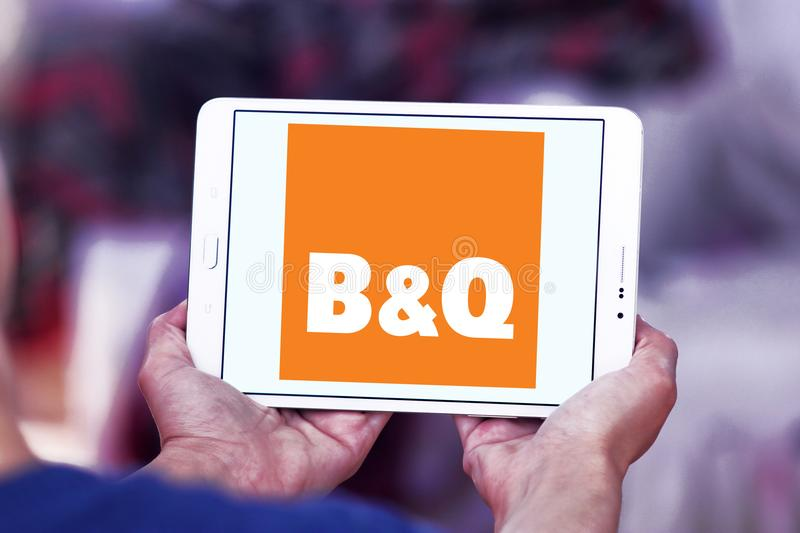 B&Q retailer logo. Logo of logo of B&Q retailer on samsung tablet. B&Q plc is a British multinational DIY and home improvement retailing company stock photos