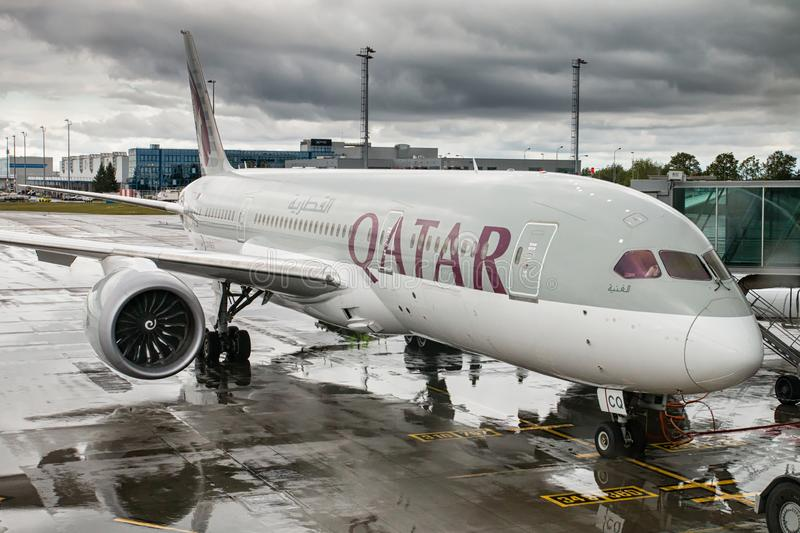 B787 Qatar Airways. PRAGUE, CZECH REPUBLIC - MAY, 14: Boeing 787 Dreamliner of Qatar Airways preparing for departure at PRG Airport in Prague on May 14, 2019 royalty free stock images