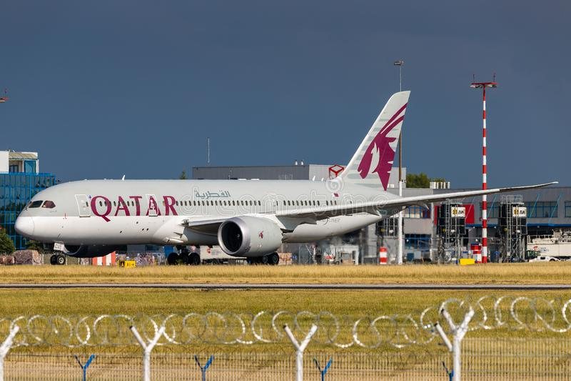 B787 Qatar fotografia stock