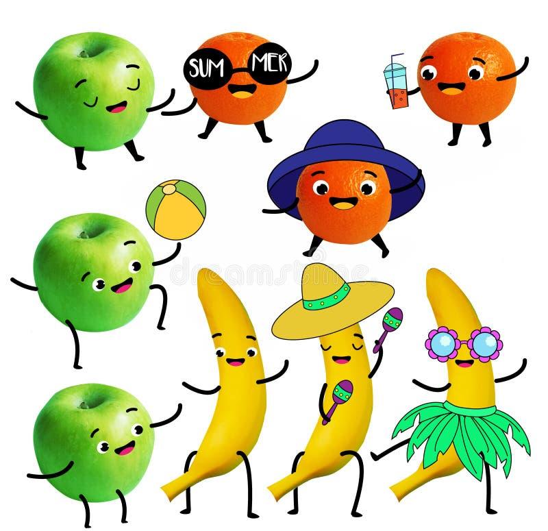 b?r fruktt roligt Det tangerin-, äpple- och bananteckenet har sommargyckel och strandaktivitet vektor illustrationer