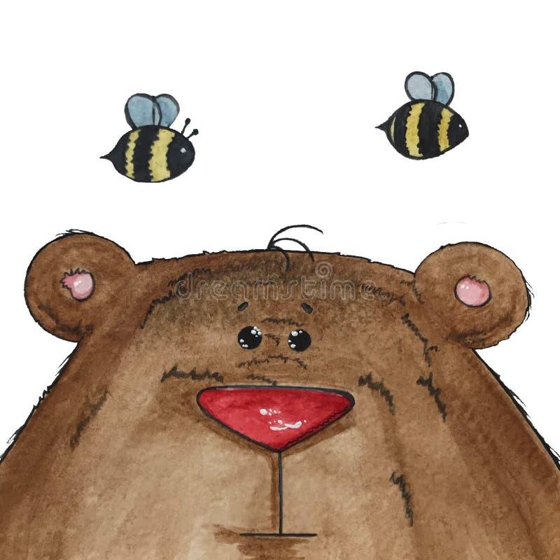 B?r und Bienen lizenzfreie stockfotos