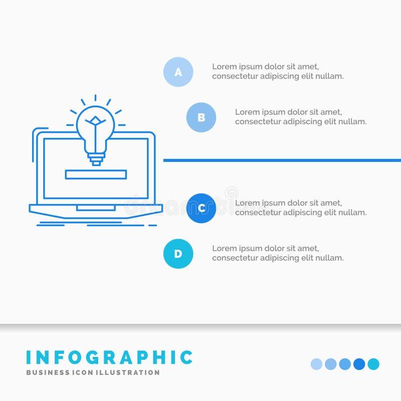 b?rbar dator, l?sning, id?, kula, l?sningsInfographics mall f?r Website och presentation Linje infographic stilvektor f?r bl? sym stock illustrationer