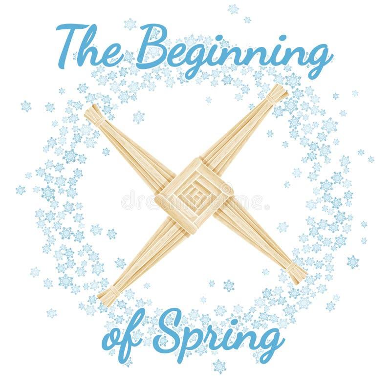 B?rja av hednisk ferie f?r v?r Imbolc Krans av sn?flingor med Brigid Cross Vektorvykort royaltyfri illustrationer