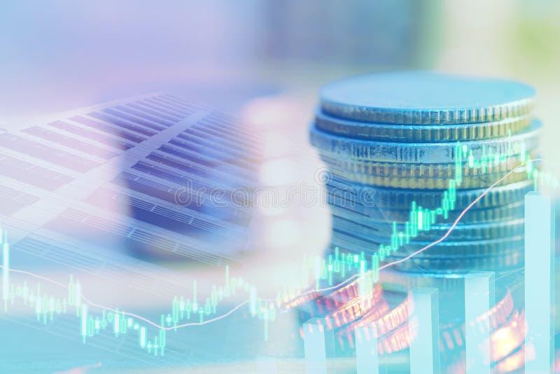 B?rse oder Devisenhandelsdiagramm und -kerzenst?nder entwerfen passendes f?r Finanzinvestitionskonzept Der Unternehmensplan am Tr stockbilder