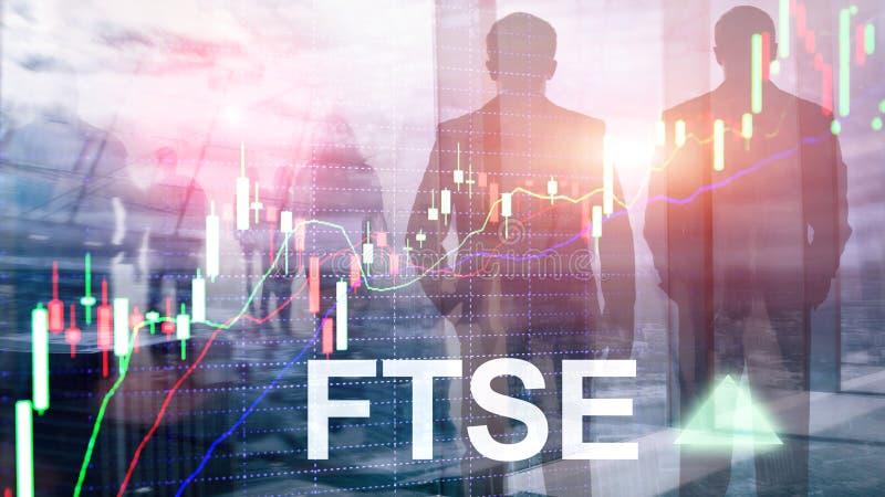 B?rsenindex-Vereinigten K?nigreichs Gro?britannien England FTSEs 100 Financial Times Investitions-Handelskonzept mit Diagramm und lizenzfreie stockfotos