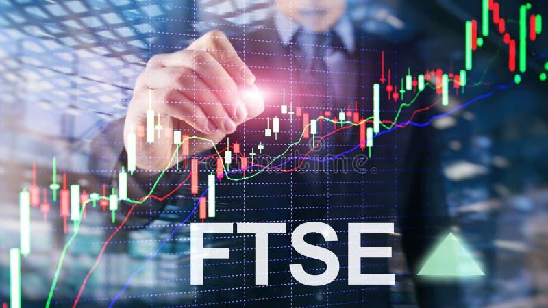 B?rsenindex-Vereinigten K?nigreichs Gro?britannien England FTSEs 100 Financial Times Investitions-Handelskonzept mit Diagramm und vektor abbildung