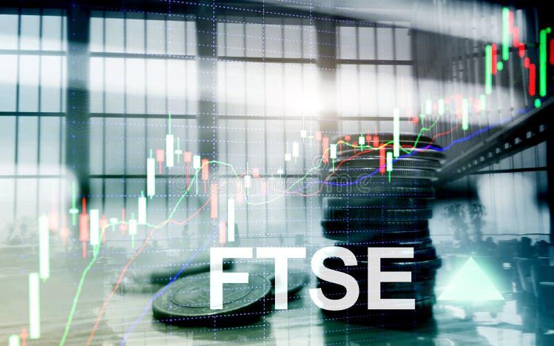 B?rsenindex-Vereinigten K?nigreichs Gro?britannien England FTSEs 100 Financial Times Investitions-Handelskonzept mit Diagramm und lizenzfreie abbildung
