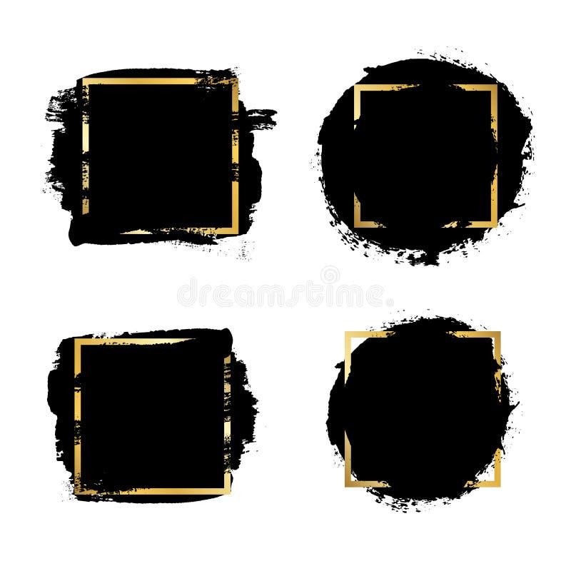 B?rstenanschl?ge Satz, Goldtextbox, lokalisierter wei?er Hintergrund Schwarzer Pinsel Schmutzbeschaffenheits-Anschlagrahmen Tinte stock abbildung