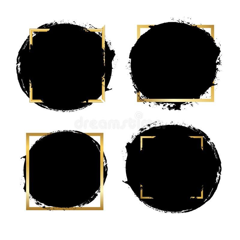 B?rstenanschl?ge Satz, Goldtextbox, lokalisierter wei?er Hintergrund Schwarzer Pinsel Schmutzbeschaffenheits-Anschlagrahmen Tinte lizenzfreie abbildung
