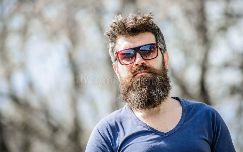 B?rtiger Mann im Freien Bartsorgfalt und -friseursalon Reifer Hippie mit Bart b?rtiger Mann mit dem ?ppigen Haar Frei und gl?ckli stockfotos