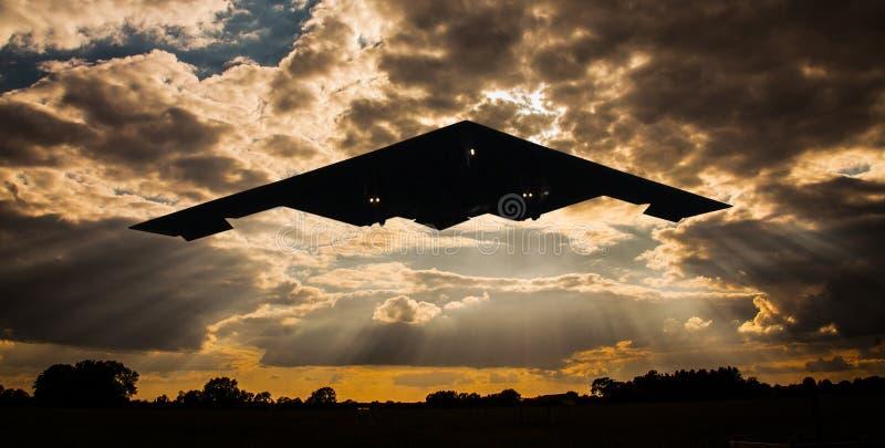 B2 spirit stealth bomber flying. USAF B2 spirit stealth bomber flying / landing at RAF Fairford, England, June 8thg 2015 stock images