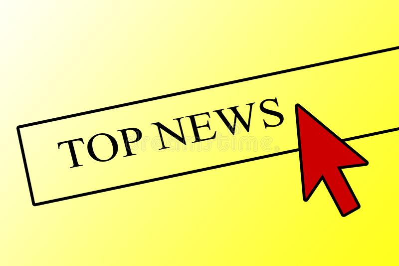 B?sta nyheterna Begreppet av breaking news Datormusmarkör på en knapp med ordbreaking news Värdering av publikationer in stock illustrationer