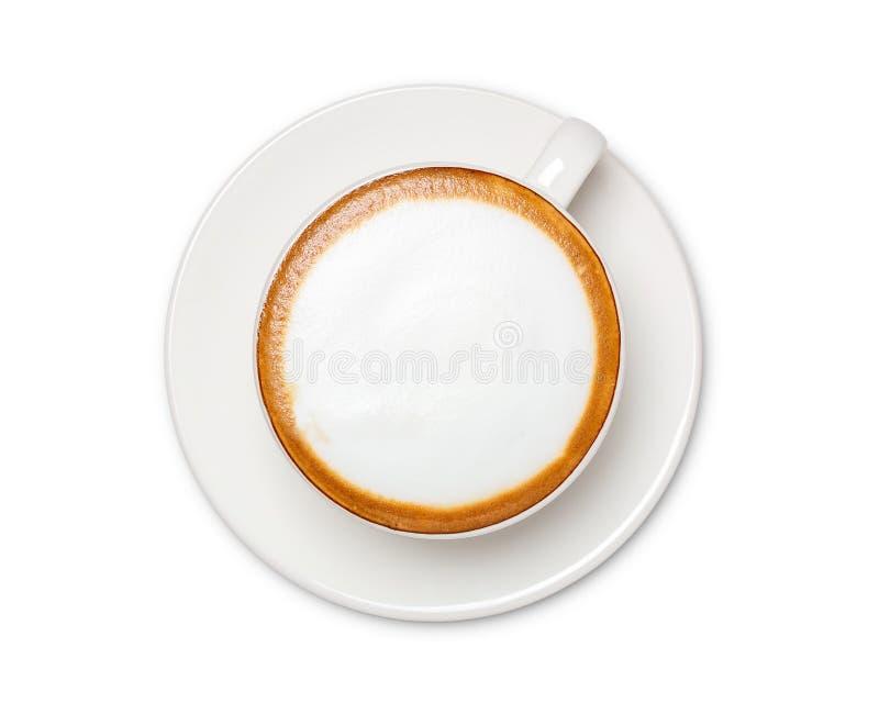 B?sta sikt av den varma kaffecappuccinokoppen som isoleras p? vit bakgrund royaltyfria foton