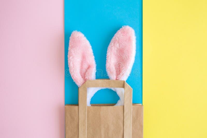 B?sta sikt av kanin?ron i shoppingp?se p? m?ngf?rgat bakgrundsabstrakt begrepp arkivbild