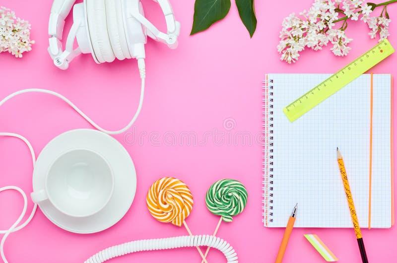 B?sta sikt av tabellen av ett ton?rs- barn, sammans?ttning av blyertspennan f?r exponeringsglas f?r b?rbar datorradergummiblomma  arkivfoton