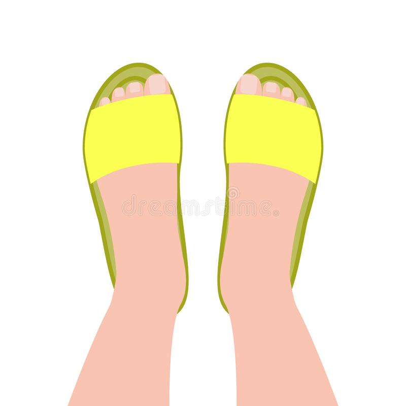 B?sta sikt f?r gul h?ftklammermatare Kvinnors strand eller inomhus skor vektor illustrationer