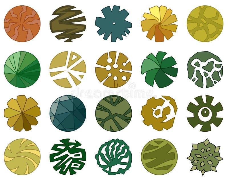 B?sta Trees besk?dar Olik symbol av växter och träd för arkitektonisk eller landskapplan ovanf?r sikt royaltyfri illustrationer