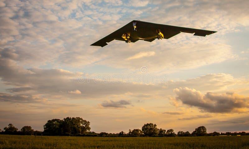 B2 stealth bomber aircraft. American USAF B2 stealth bomber aircraft flying over England stock image