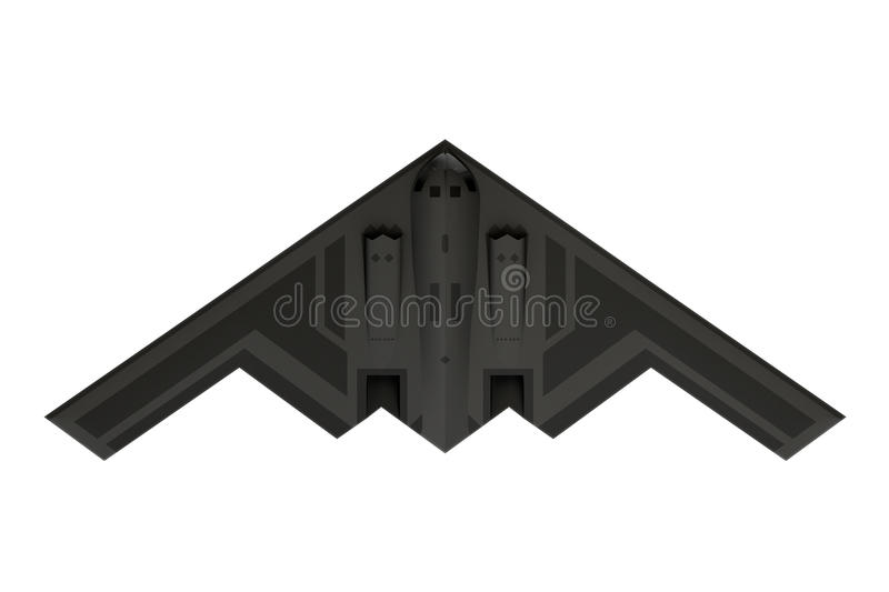 B-2 stealth bomber. Top view isolated on white background stock image