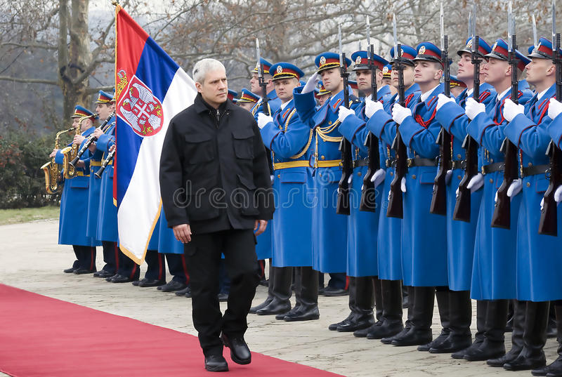 B.Tadic and Guard of honor royalty free stock photography