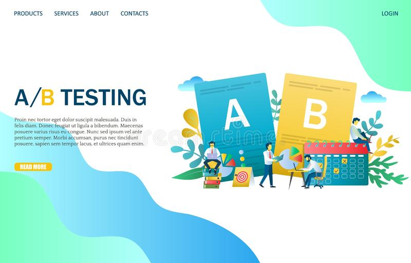 A B testing vector website landing page design template royalty free illustration