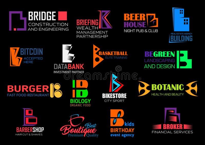 B van het bedrijfs brievenmerk collectieve identiteitspictogrammen stock illustratie
