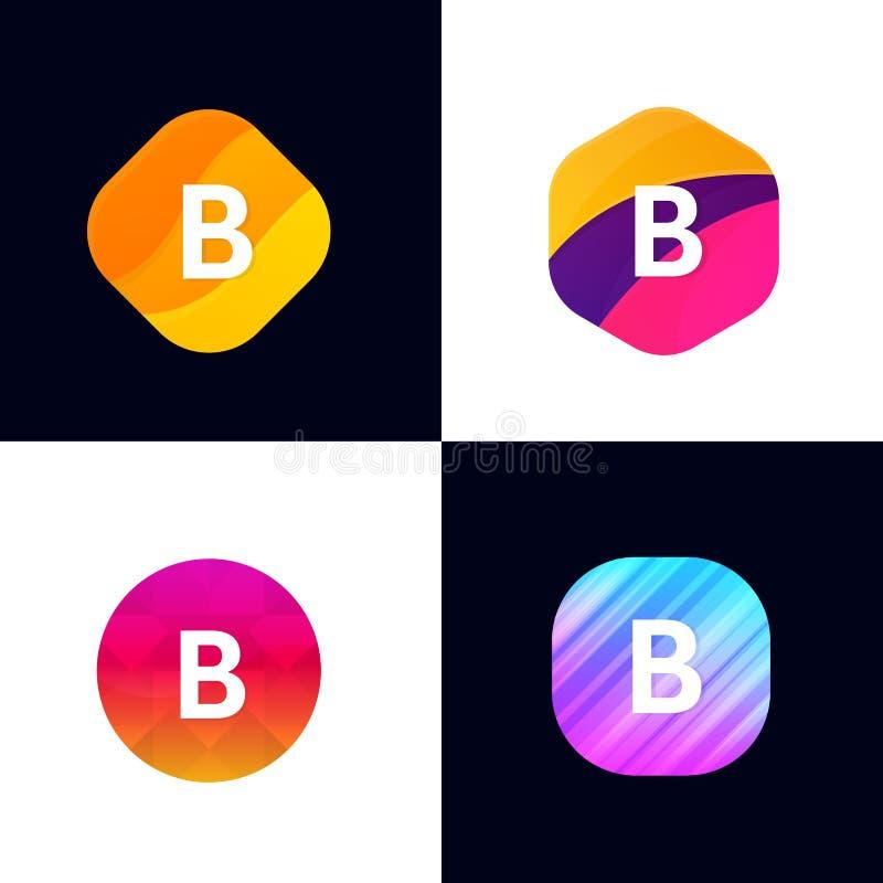 B van het pictogramtekens van het brieven de vectorbedrijf reeks van het de symbolenembleem vlakke royalty-vrije illustratie