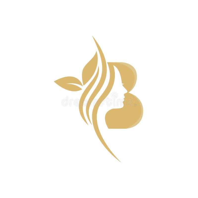 B Vector abstract logo, merkmodel in trendy lineaire minimale stijl, embleem voor schoonheidsstudio en cosmetica - vrouwelijk royalty-vrije illustratie