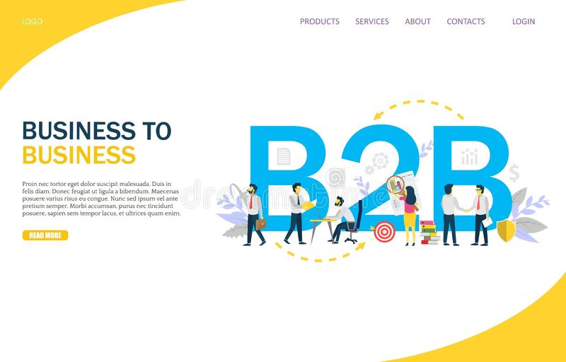 Business to business vector website landing page design template vector illustration