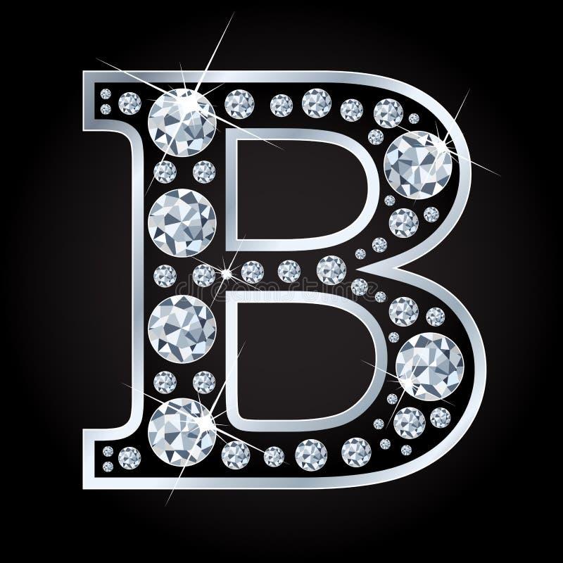 B vectordiebrief met diamanten wordt gemaakt op zwarte achtergrond worden geïsoleerd royalty-vrije illustratie