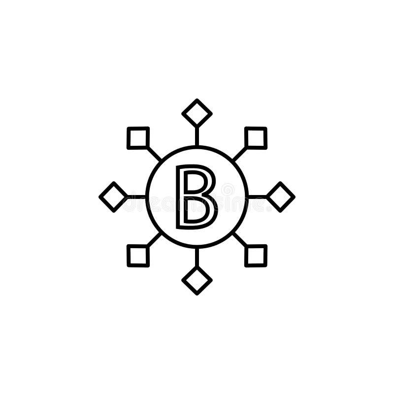 B vitaminenpictogram Element van bloeddonatie voor mobiele concept en Web apps illustratie Dun lijnpictogram voor websiteontwerp  vector illustratie