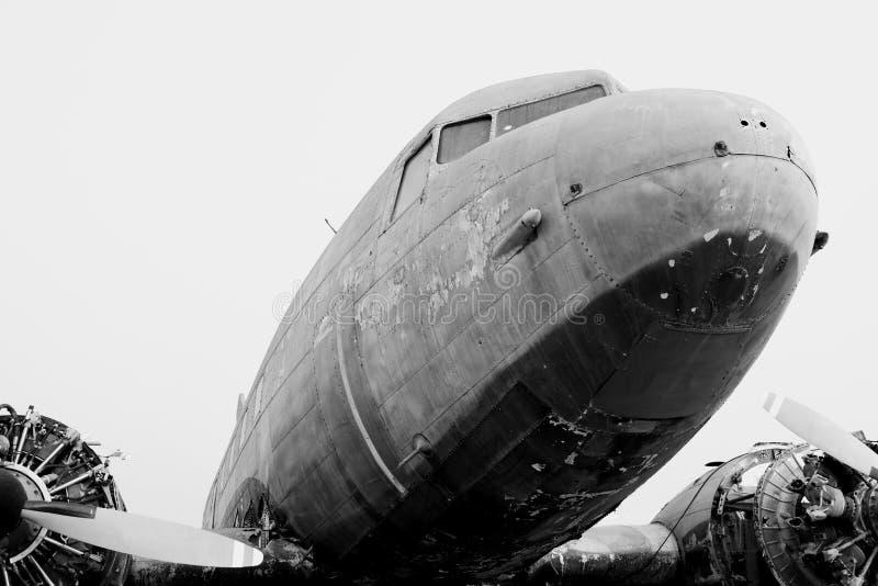 B&W关闭老经典飞机 免版税图库摄影