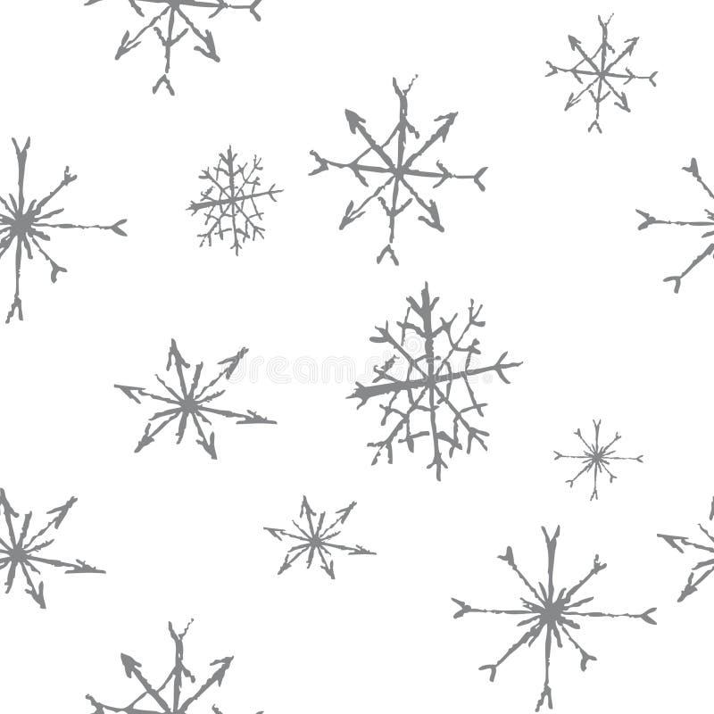 B&w картины снежинок безшовное стоковые фотографии rf