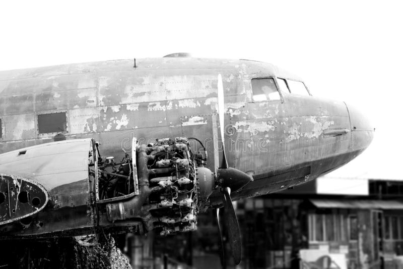 B&W Close up of Old CLASSIC airplane stock photos