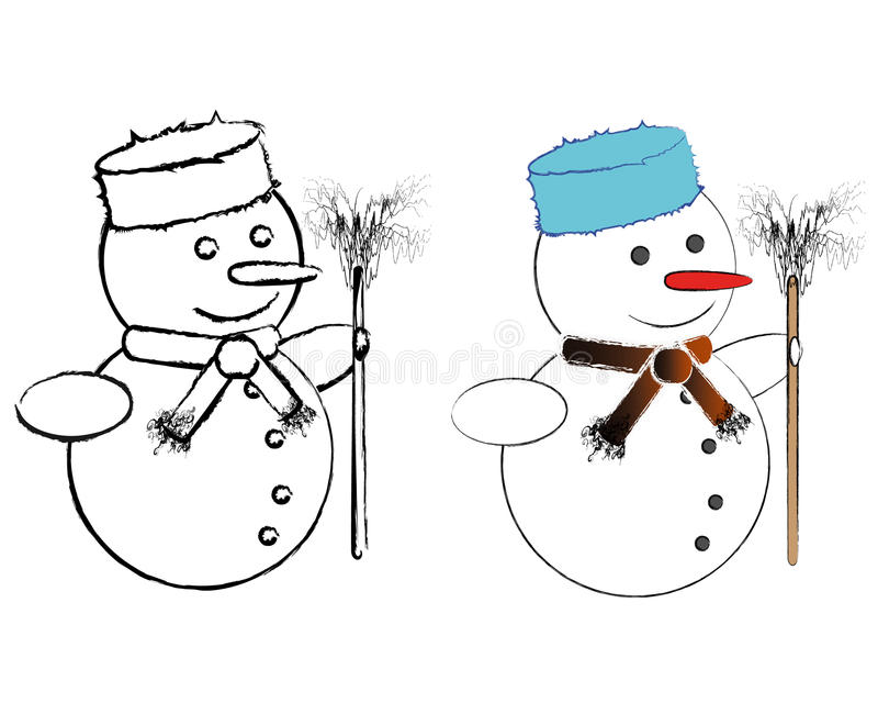 B&W And Colored Snowmen Royalty Free Stock Image
