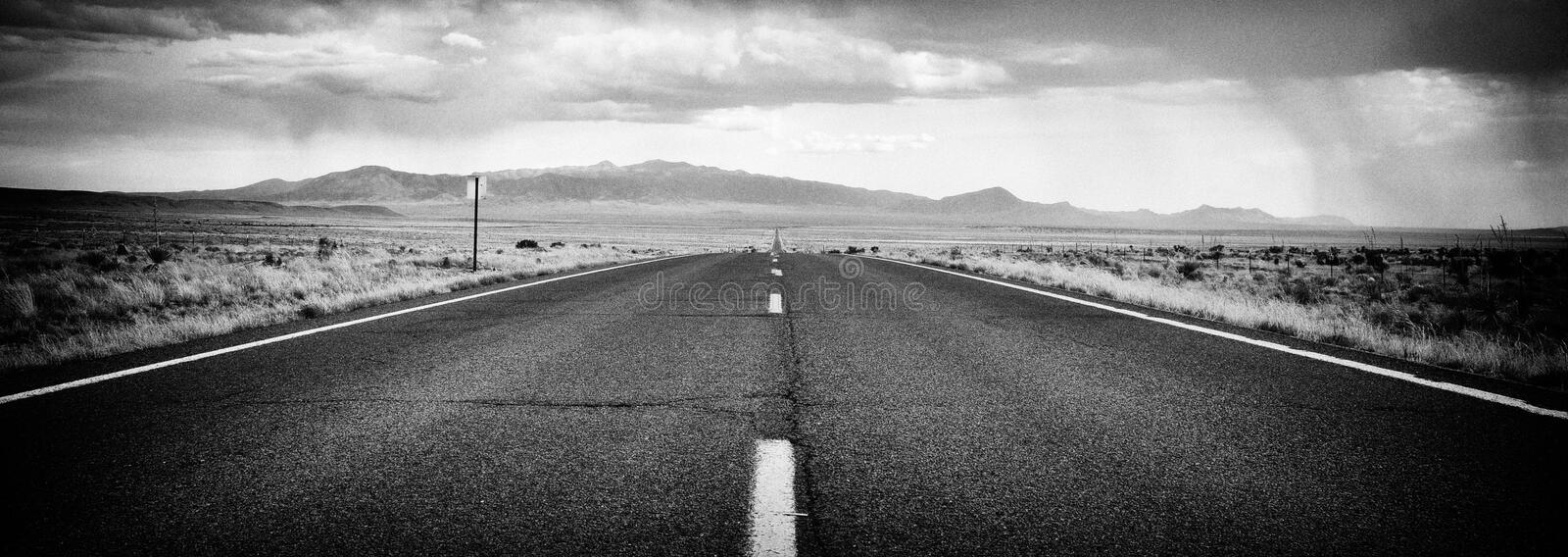 B&W Desert Road in New Mexico stock images