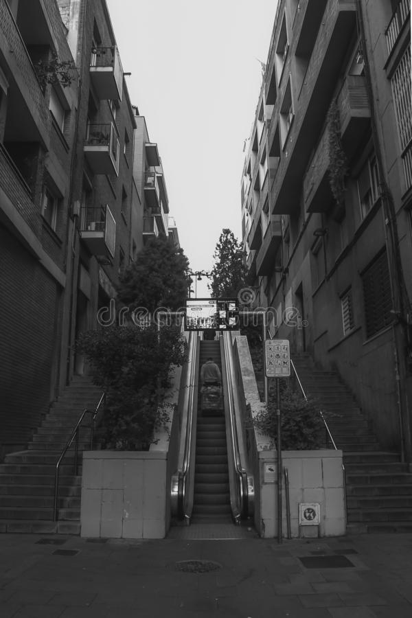 B&W Escalator in Barcelona royalty free stock image