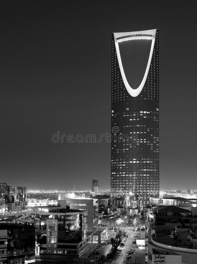 B&W night view of The Kingdom Tower `Al-Mamlaka` in Riyadh, Saudi Arabia. A night view black and white photo of The Kingdom Tower `Al-Mamlaka` in Riyadh, Saudi stock photos