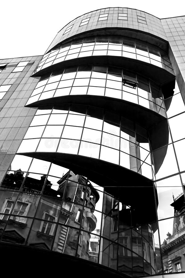 B&W photo with modern and classic architecture in mirror. Belgrade, Serbia stock images